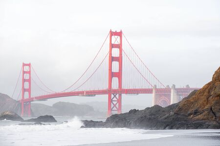 Golden Gate Bridge view from baker Beach, San Francisco, California. Stok Fotoğraf