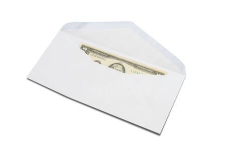 US Two-Dollar bill in white envelope isolated on white background.