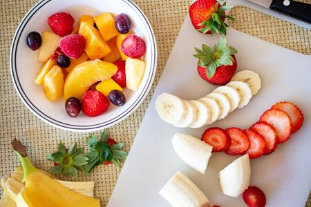 Healthy food concept : Prepared fruits for make smoothie.
