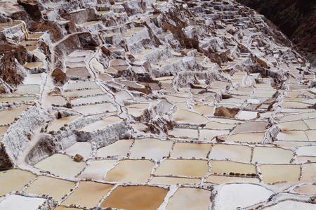 evaporacion: salina en Maras, cerca de Cuzco, Per� Foto de archivo
