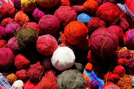 peruvian culture: Peruvian wool balls of different colors for the manufacture typical clothes of the Inca culture