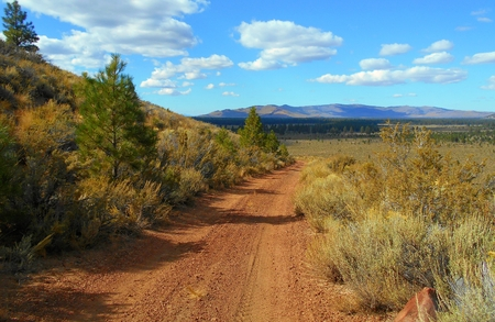 Central Oregon Panorama - View looking toward Pine Mountain from the road on Plot Butte - near Millican, OR Stock Photo