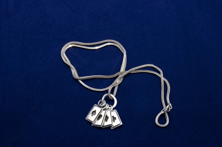 coulomb: pendant on a chain of silver decoration on a blue background