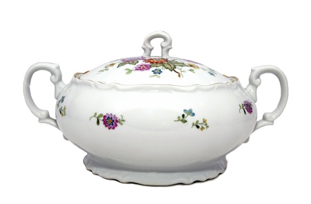 antique dishes: porcelain soup tureen