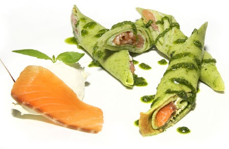 nutritiously: pancakes with trout Stock Photo