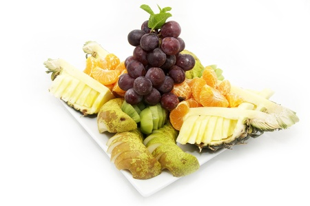 exotics: plate of sliced fruit