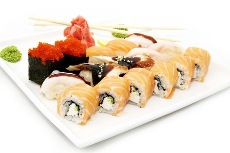 Plate of Japanese Sushi Stock Photo - 13888709