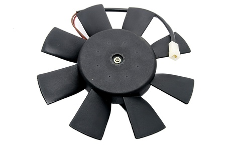 Plastic electrical fan motor on a white background