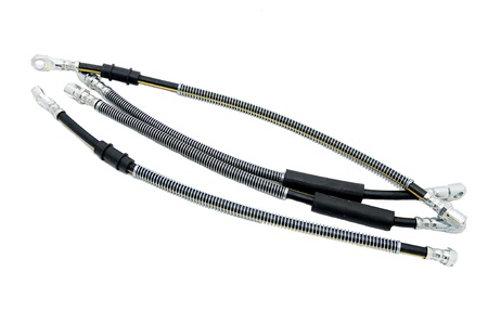 Several automotive hoses on a white background photo