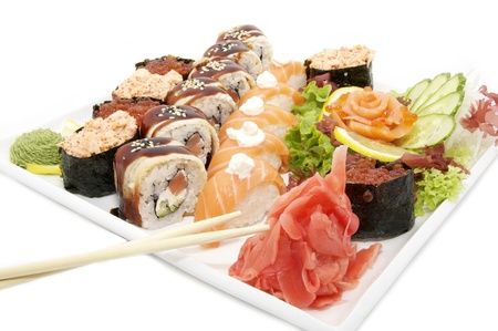 sushi with salmon fish Stock Photo