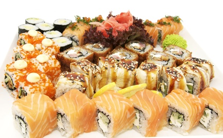 a wide range of Japanese sushi on white background Stock Photo - 13158630