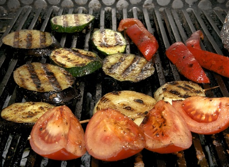 grilled vegetables cooking in a restaurant photo