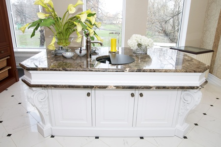 part of the kitchen a large marble table Stock Photo - 13196243