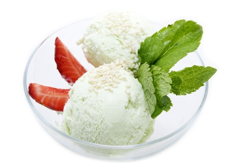 Ice cream with strawberries on a white background Stock Photo
