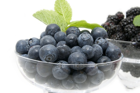 blueberries on a white background in the restaurant