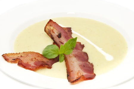 meal pea soup and bacon in a restaurant Stock Photo - 13550007
