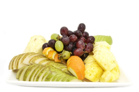 a plate of ripe juicy fruit on white background photo