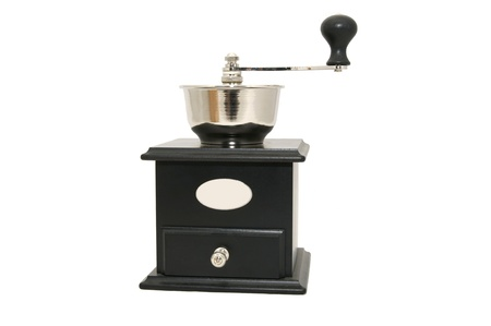 a new coffee grinder on a white background photo