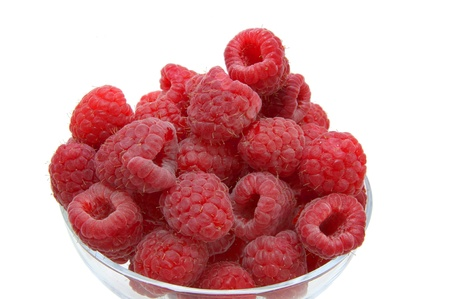 raspberry on white background in the restaurant photo
