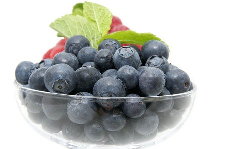 blueberries on a white background in the restaurant photo