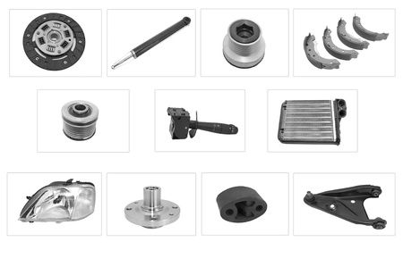 new spare parts for motor cars on a white backgrou