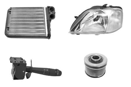 mecanico automotriz: nuevas piezas de repuesto para autom�viles en un backgrou blanco