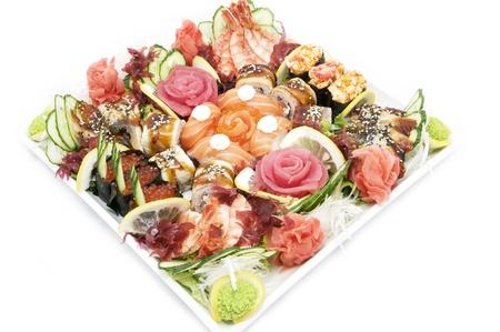 Japanese sushi fish and seafood on white background Stock Photo - 13829072