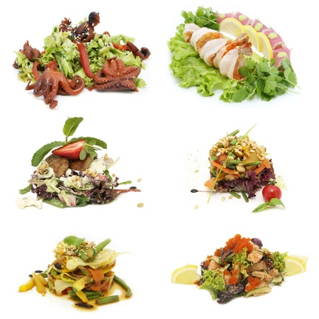 mea: salads, vegetables and seafood in a restaurant Stock Photo