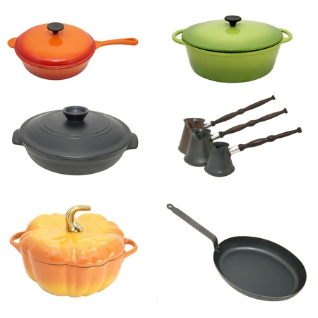 kitchen utensils for cooking pots and pans unit photo