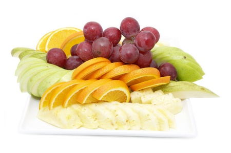 a plate of ripe fruit on a white background photo
