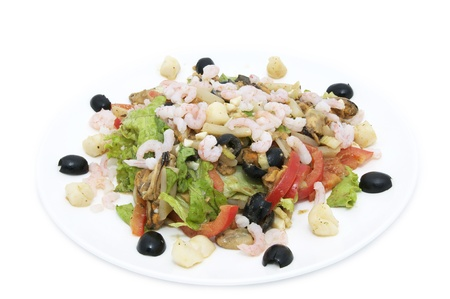 salad with shrimp and vegetables on a white background photo