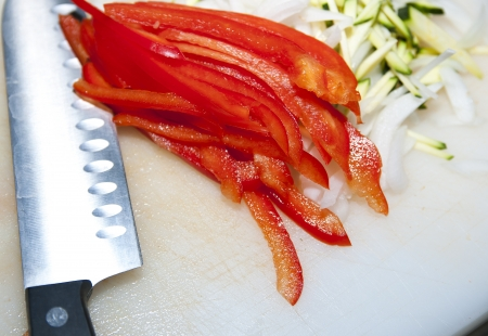 knife and chopped vegetables pepper on the kitchen chalkboard Stock Photo - 14746978