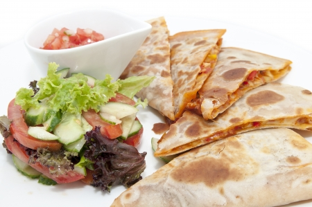 Mexican food dishes at the restaurant on a white background Stockfoto