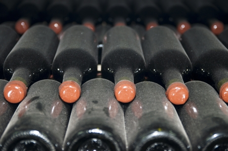 nappa: wine bottles stored in the old wine cellar Stock Photo