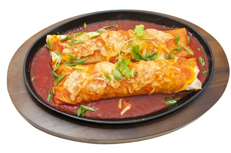 mexicans: Mexican food dishes at the restaurant on a white background Stock Photo