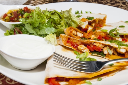 Mexican food restaurant on a white dish Stock Photo
