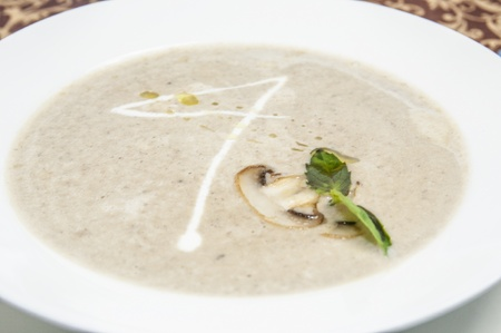 mushroom soup sauce on a table in a restaurant Stock Photo - 15434943