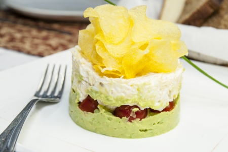 nutritiously: salad with vegetables and mashed potatoes with cheese Stock Photo