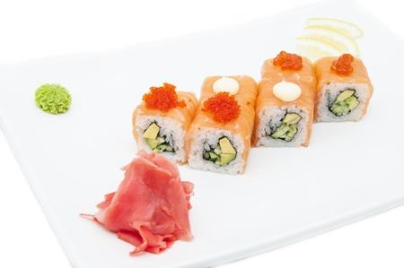 Japanese sushi seafood on a white background photo