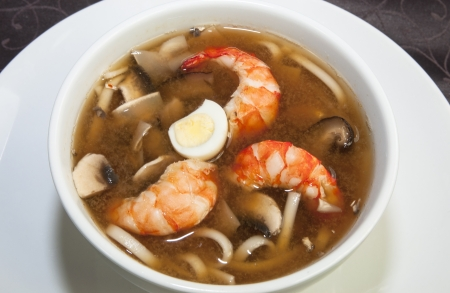 fresh food fish cake: Japanese soup with shrimp and pasta in a restaurant