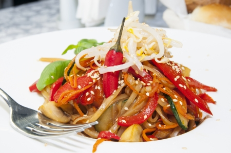 Rice spaghetti with vegetables photo