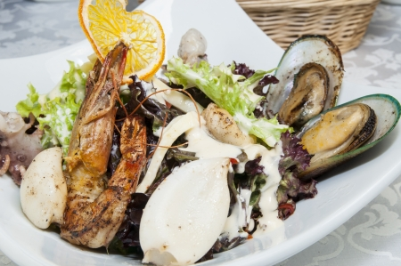 salad with vegetables and seafood photo