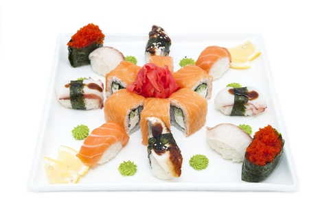 Japanese sushi on a table in a restaurant photo