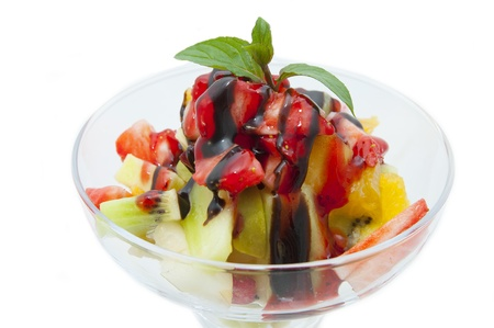fruit salad with fresh fruit on a white background photo