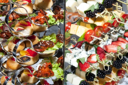 canape with seafood and cheese with fruit photo