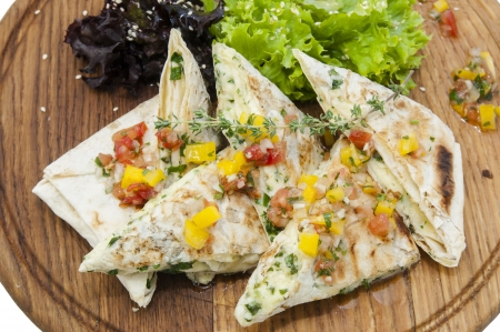 pita bread with vegetables on a plate in a restaurant Stock Photo - 16344649