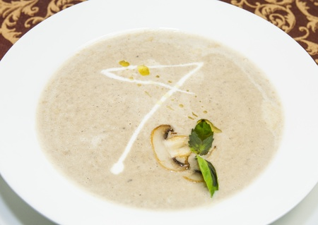mushroom soup sauce on a table in a restaurant Stock Photo - 16343497