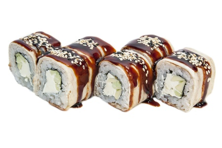 Japanese rolls in a restaurant with fish and vegetables Stock Photo - 16800343