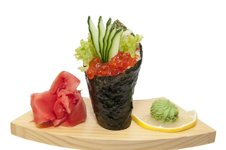 Japanese cuisine in the restaurant Temaki with salmon caviar