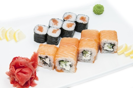 Japanese rolls in a restaurant with fish and vegetables Stock Photo - 16851695